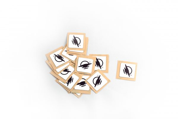 A group of square stickers approximately 20mm by 20mm each.